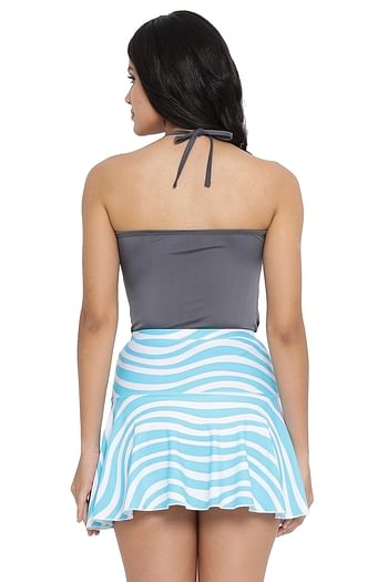 Back listing image for Padded Halter Neck Swim Top & Printed Skirt in Grey & Blue