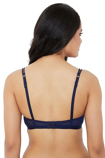 Back listing image for Padded Non-Wired Bridal Bra in Dark Pink & Navy Blue - Lace & Powernet