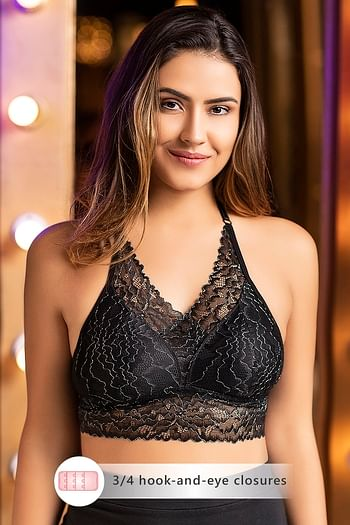 Front listing image for Padded Non-Wired Halter Neck Longline Bralette in Black - Lace