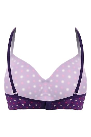 Back listing image for Padded Non-Wired Polka Print Multiway T-Shirt Bra in Purple