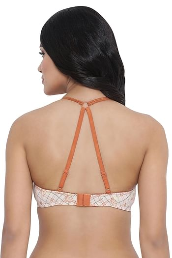 Back listing image for Padded Non-Wired Printed Racerback Bra in Beige