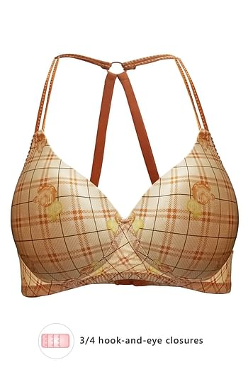 Front listing image for Padded Non-Wired Printed Racerback Bra in Beige