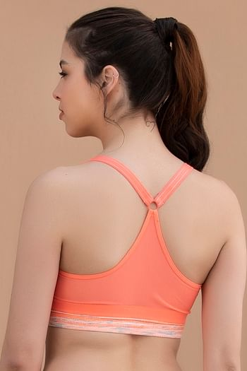 Back listing image for Medium Impact Padded Non-Wired Printed Sports Bra in Coral Orange