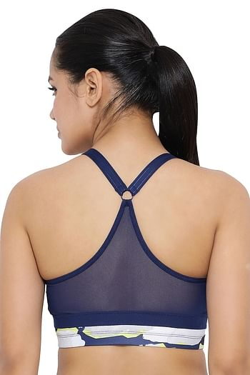 Back listing image for Medium Impact Padded Non-Wired Printed Sports Bra in Navy Blue