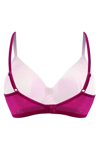 Back listing image for Padded Non-Wired Printed T-Shirt Bra in Dark Pink