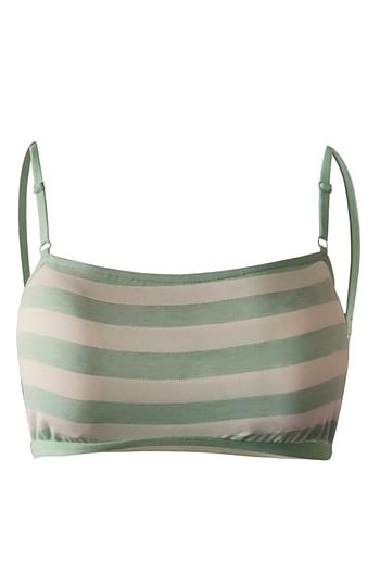 Front listing image for Padded Non-Wired Striped Teen Bra in Light Green - Cotton