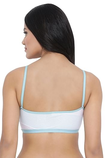 Back listing image for Padded Non-Wired Striped Teen Bra in Light Green - Cotton