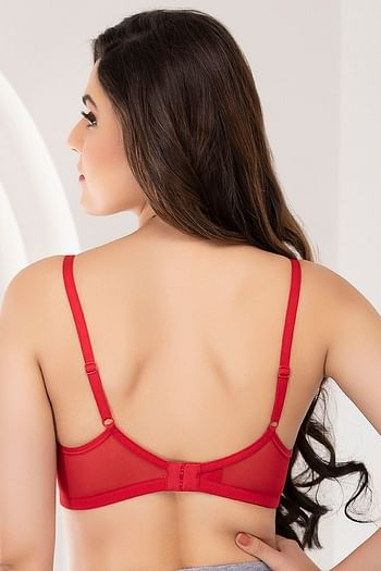 Back listing image for Padded Non-Wired T-Shirt Bra In Red
