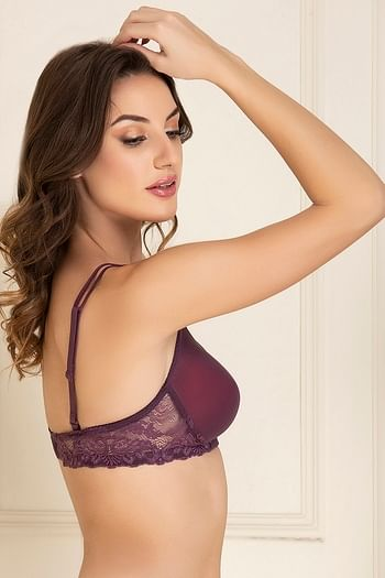 Back listing image for Padded Non-Wired T-shirt Bra with Lace In Purple