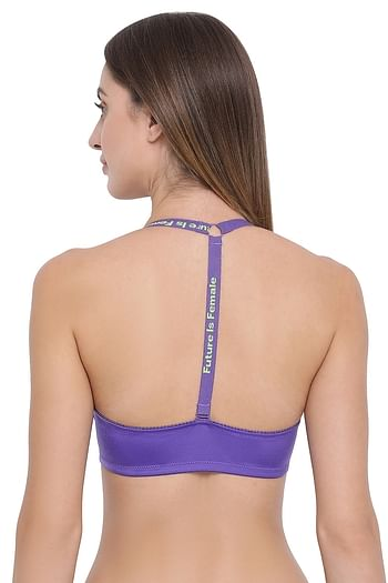 Back listing image for Padded Underwired Front Open T-Shirt Bra With T-Back In Purple
