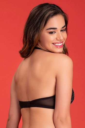Back listing image for Padded Underwired Halter Neck Bridal Bra in Black - Lace & Powernet