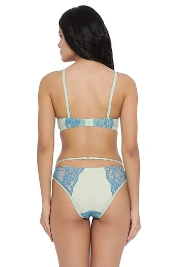 Back listing image for  Padded Underwired Push-up Bra with Bikini Panty in Light Green - Lace & Powernet