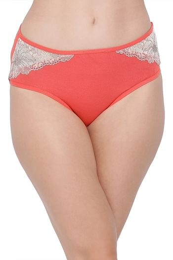 Front listing image for Cotton Mid Waist Hipster Panty with Lace Inserts