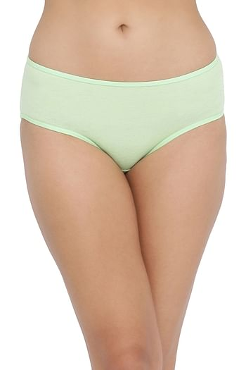 Back listing image for Mid Waist Hipster Panty with Printed Back in Light Green - Cotton
