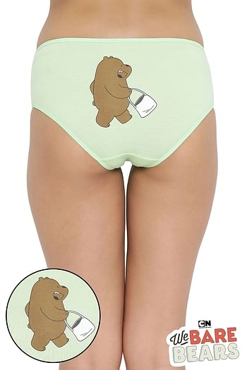 Front listing image for Mid Waist Hipster Panty with Printed Back in Light Green - Cotton