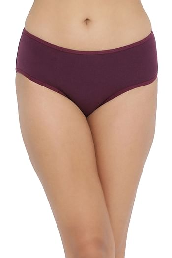 Back listing image for Mid Waist Hipster Panty with Printed Back in Purple - Cotton