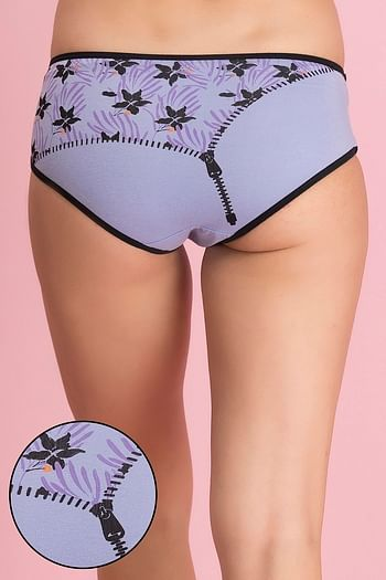 Front listing image for Mid Waist Floral & Zip Print Hipster Panty - Cotton