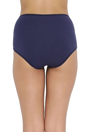 Back listing image for High Waist Hipster Panty with Lace Waist in Navy Blue - Cotton