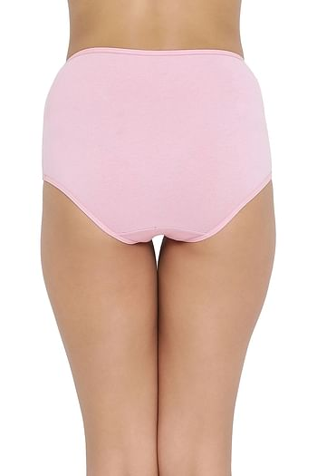 Back listing image for High Waist Hipster Panty with Lace Waist in Pink- Cotton