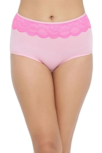 Front listing image for High Waist Hipster Panty with Lace Waist in Pink- Cotton