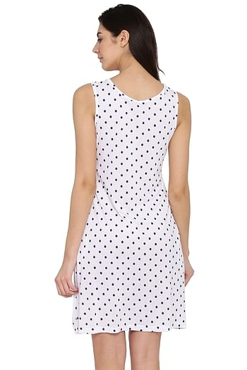Back listing image for Polka Print Short Night Dress in White - Cotton Rich