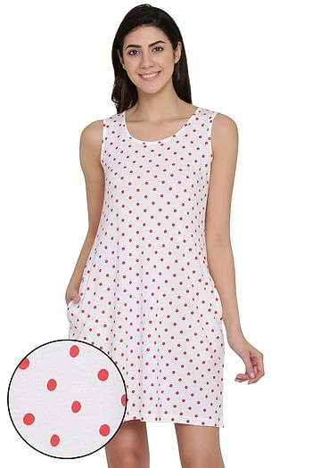 Front listing image for Polka Print Short Night Dress in White - Cotton Rich
