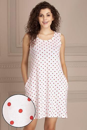 Polka Print Short Night Dress in White   Cotton Rich