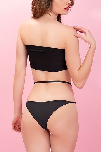 Back listing image for Powernet High Waist Bikini Panty With Stringy Waist In Black