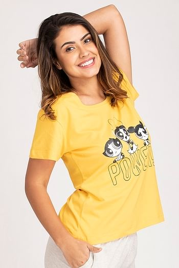 Back listing image for Powerpuff Girls Print Top in Yellow - Cotton Rich