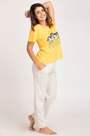 Back listing image for Powerpuff Girls Print Top & Pyjama Set in Yellow & Grey - Cotton Rich