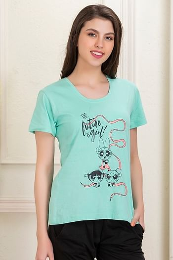 Back listing image for Powerpuff Print Top in Light Green - Cotton Rich