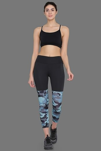 Front listing image for Printed Activewear Gym/Sports Tights in Dark Grey