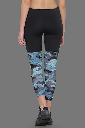 Back listing image for Printed Activewear Gym/Sports Tights in Dark Grey