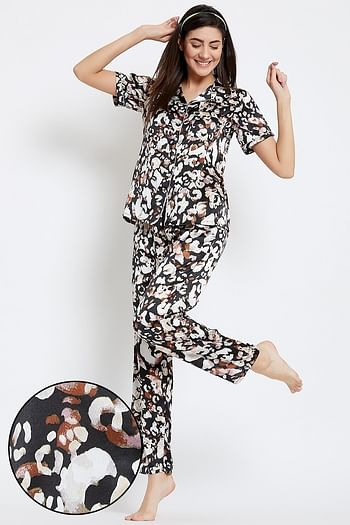 Front listing image for Printed Button Down Shirt & Pyjama Set in Black - Satin