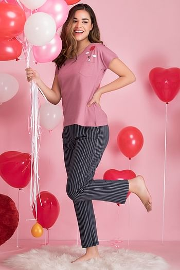 Back listing image for Printed Top and Striped Pyjama Set in Duster Pink & Dark Blue - Cotton