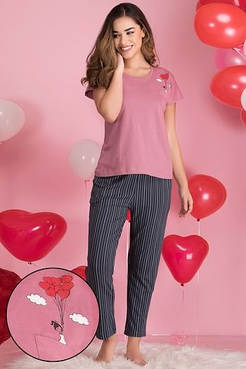 Front listing image for Printed Top and Striped Pyjama Set in Duster Pink & Dark Blue - Cotton