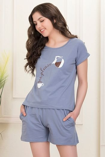 Back listing image for Printed Top & Boxer Shorts Set in Light Grey - Cotton Rich