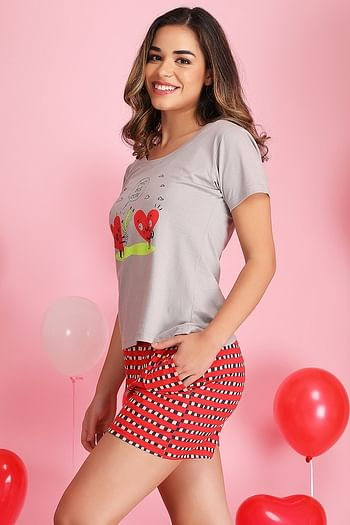 Back listing image for Printed Top & Checkered Shorts Set in Grey & Red - Cotton Rich