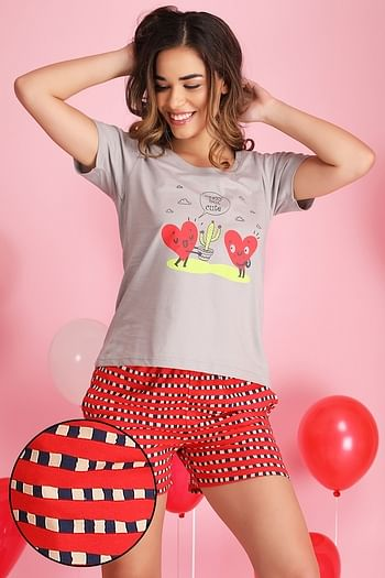 Front listing image for Printed Top & Checkered Shorts Set in Grey & Red - Cotton Rich