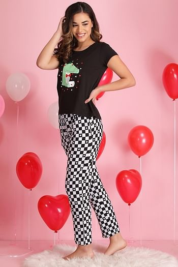 Back listing image for Printed Top & Pyjama Set in Black & Grey- Cotton