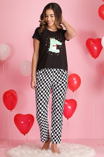 Front listing image for Printed Top & Pyjama Set in Black & Grey- Cotton