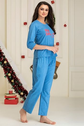 Back listing image for Printed Top & Pyjama Set in Dark Blue - Cotton Rich