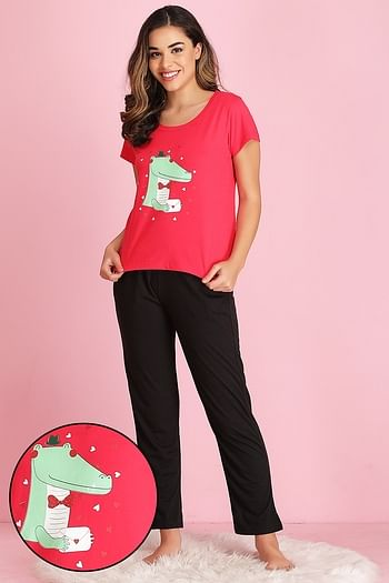 Front listing image for Printed Top & Pyjama Set in Dark Pink & Black- Cotton