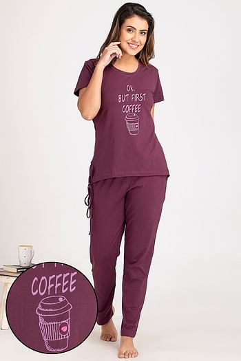 Front listing image for Printed Top & Pyjama Set in Dark Purple & Grey - Cotton