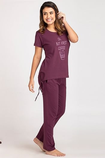 Back listing image for Printed Top & Pyjama Set in Dark Purple & Grey - Cotton