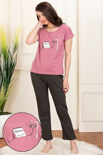 Front listing image for Printed Top & Pyjama Set in Duster Pink & Dark Grey - Cotton Rich