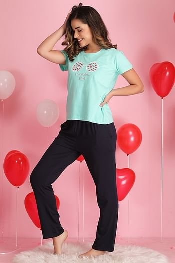 Back listing image for Printed Top & Pyjama Set in Light Green - 100% Cotton