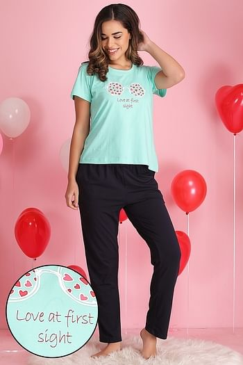 Front listing image for Printed Top & Pyjama Set in Light Green - 100% Cotton
