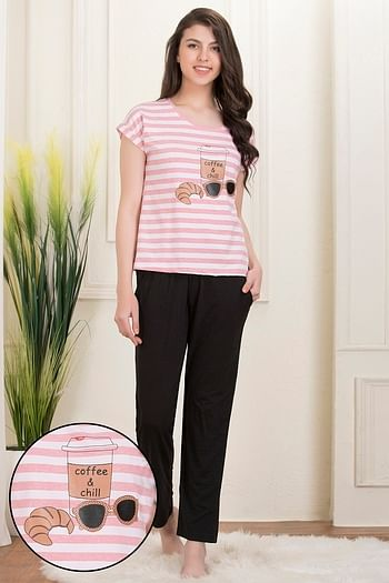 Back listing image for Printed Top & Pyjama Set in Pink & Black - Cotton Rich
