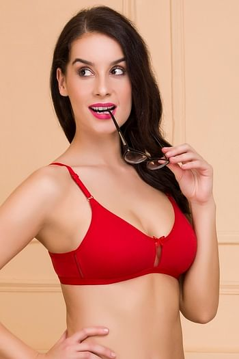 Back listing image for Non-Padded Non-Wired Bra With U Back in Red - Cotton
